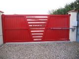 portail alu rouge motorisé dos